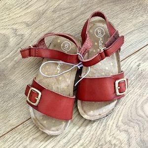Girls Cognac Sandals Gold Buckle Footbed Shoe NWOT